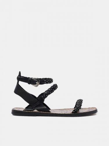 Molly sandals in black braided leather with stud decoration