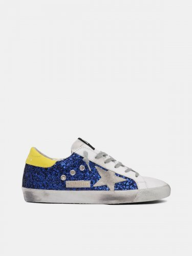 Super-Star sneakers with blue glitter and yellow heel tab