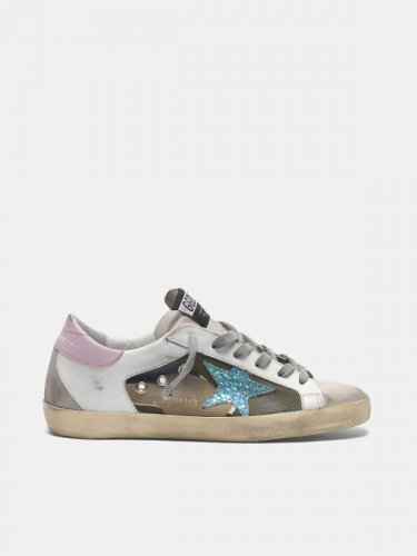 Camouflage Super-Star sneakers with glittery star and pink heel tab