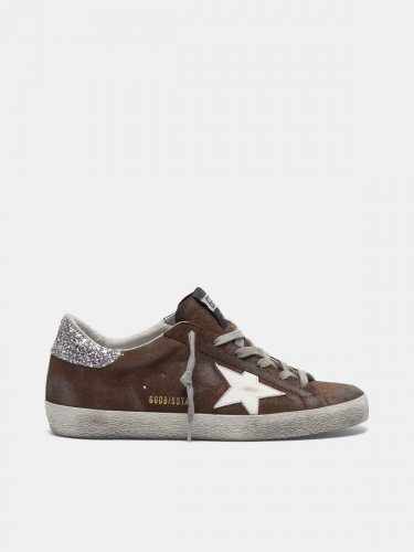Suede Super-Star sneakers with glittery heel tab