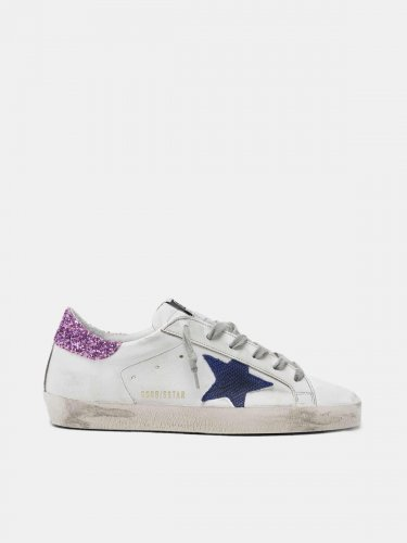 White Super-Star sneakers with blue star and glittery heel tab