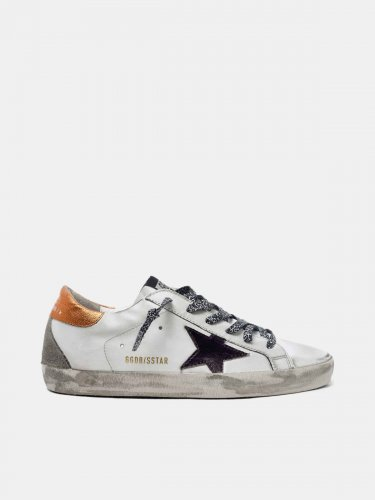 White Super-Star sneakers with black star and leopard-print laces