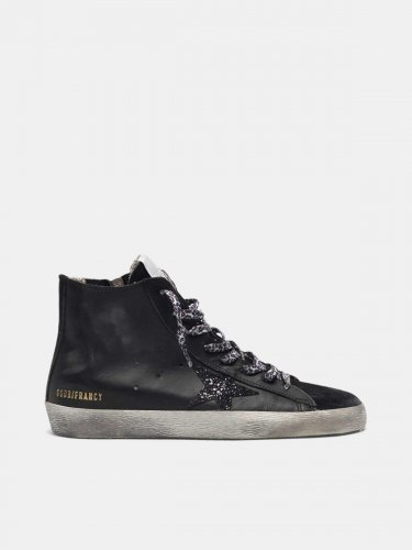 Black Francy sneakers in leather with glittery star