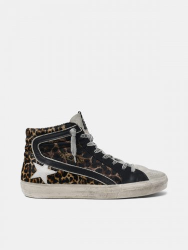 Slide sneakers in leopard-print leather