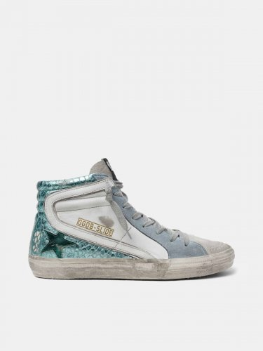Slide sneakers in crocodile-print green laminated leather