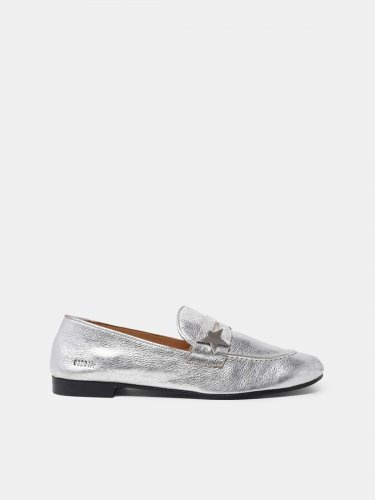Virginia loafers in silver leather