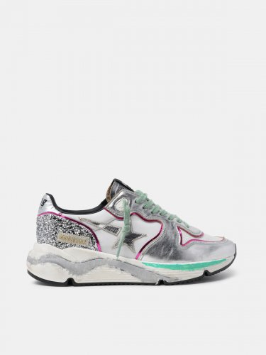 Silver Running Sole sneakers with glitter and fuchsia edging
