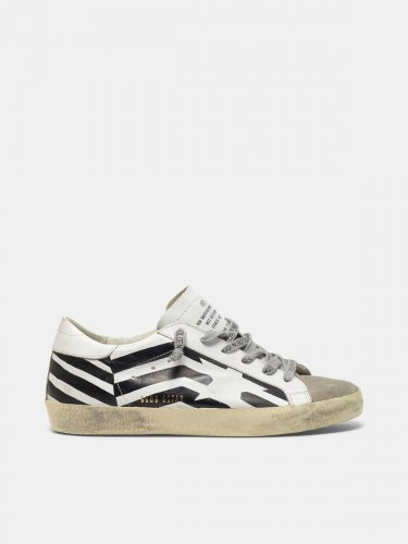 Super-Star sneakers in leather with flag print