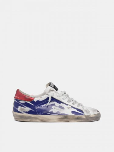 Metallic red and blue Super-Star sneakers