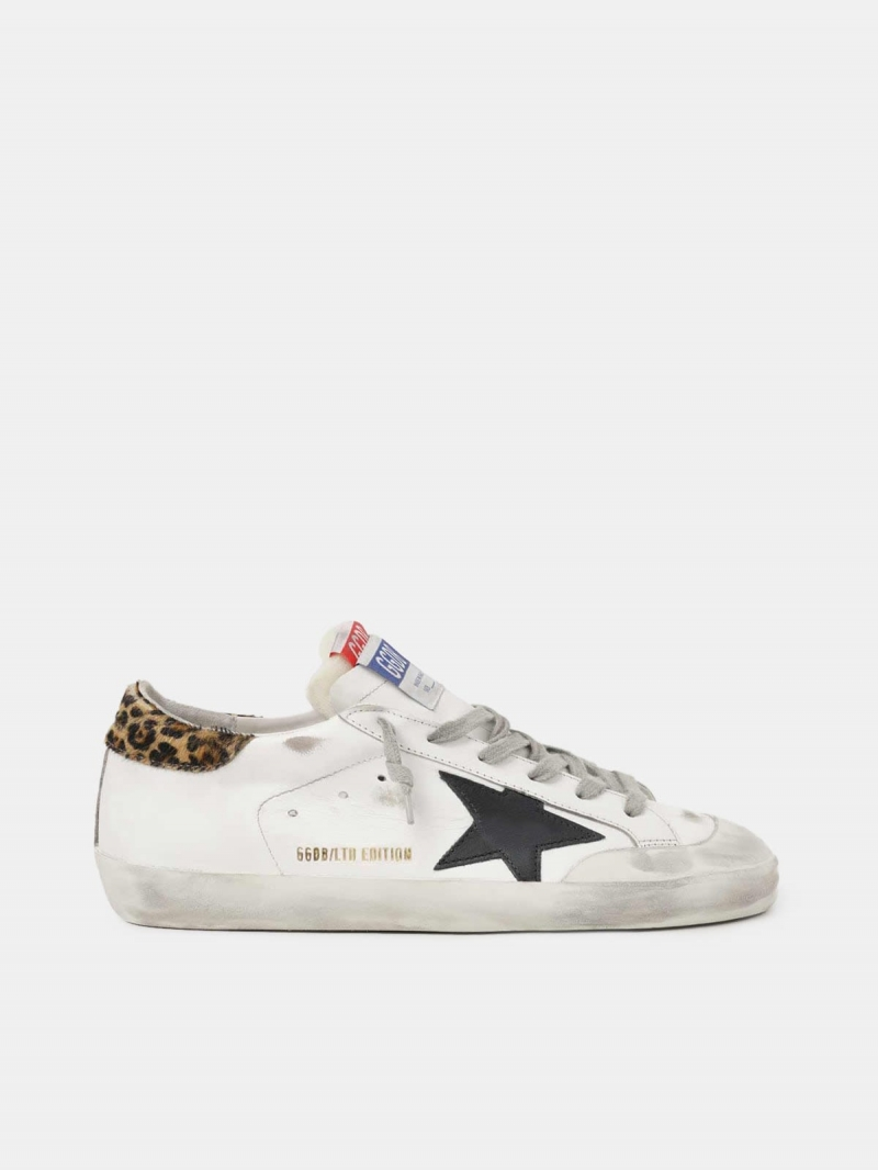 Men??s LAB Limited Edition Super-Star sneakers with double tongue and leopard-print heel tab