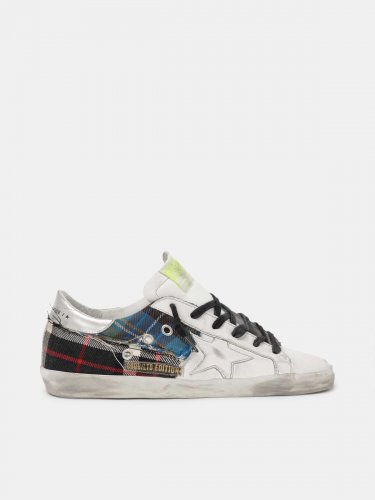 Men's Limited Edition LAB white Super-Star sneakers with tartan insert