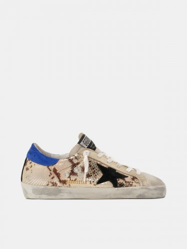 Super Star sneakers in laminated snake-print leather