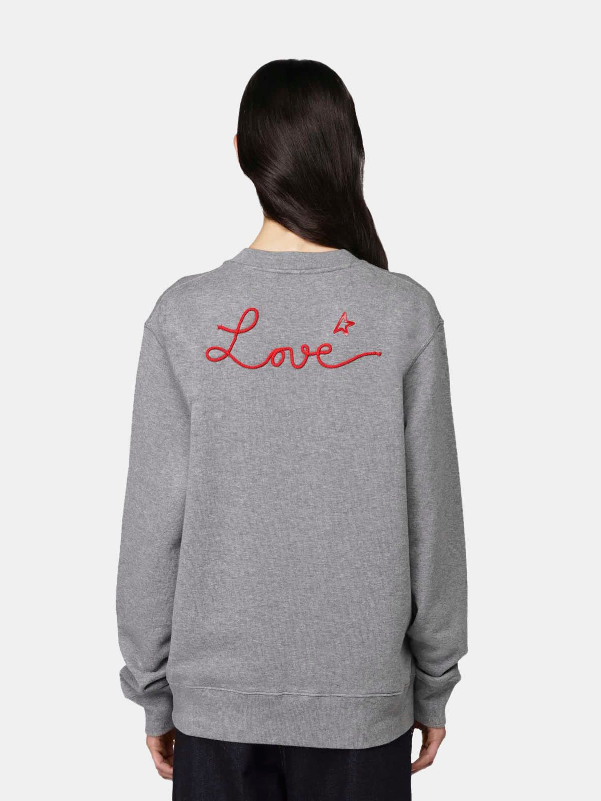 Grey Robbie sweatshirt with Love embroidery