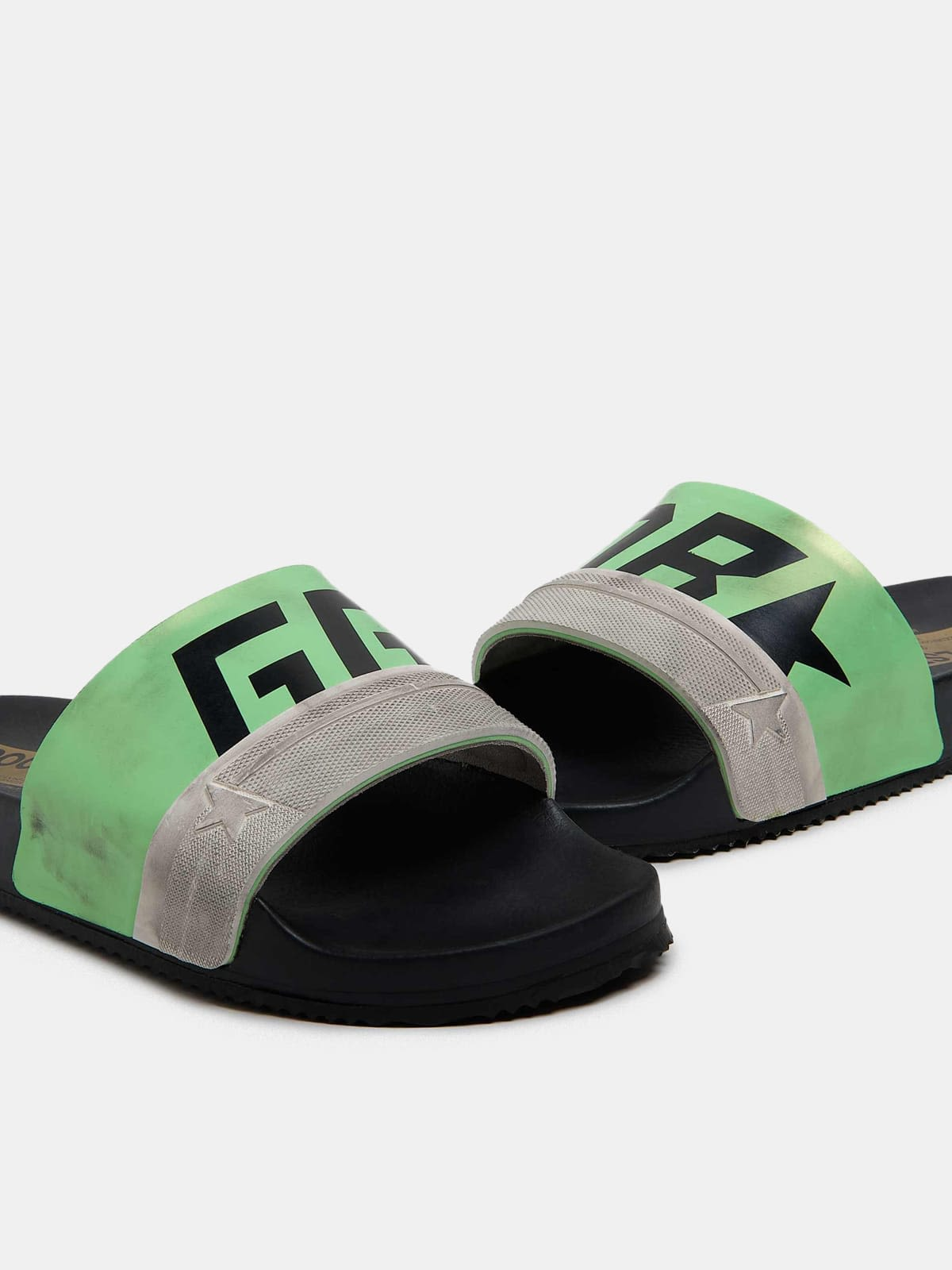 Black Poolstars for men with green strap and logo