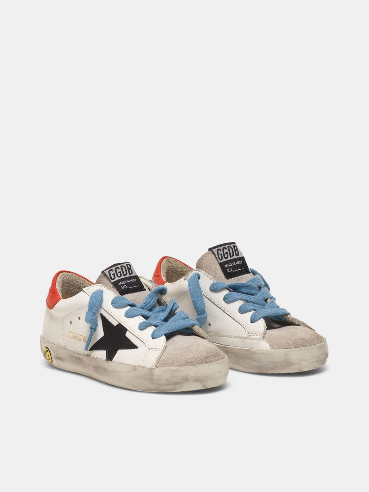Super-Star sneakers with red heel tab and sky blue laces