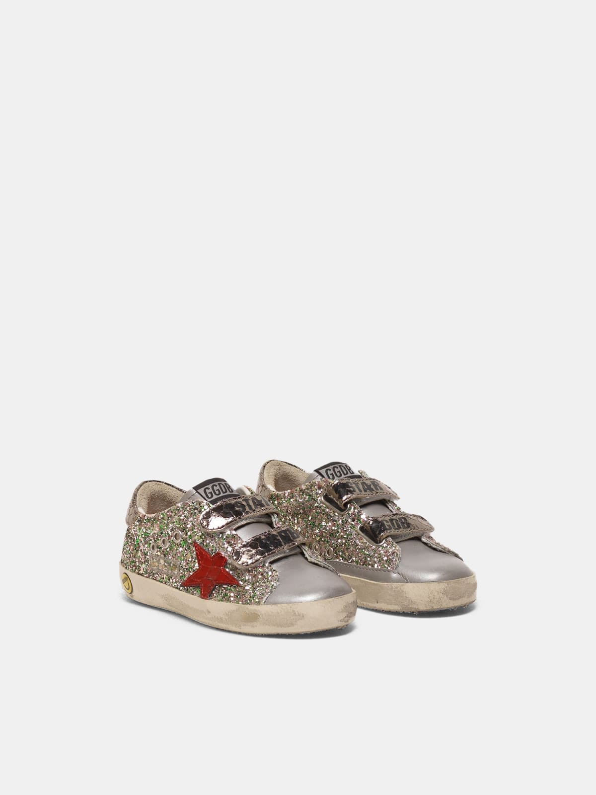 Old School sneakers with glitter and red star