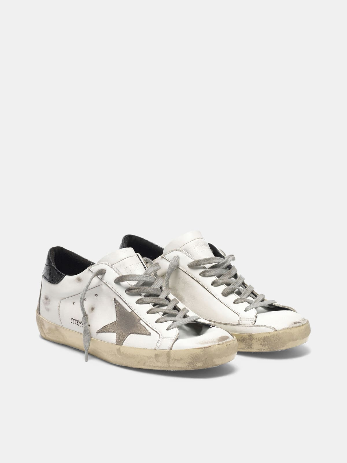 Super-Star sneakers with suede star and croc-print heel tab
