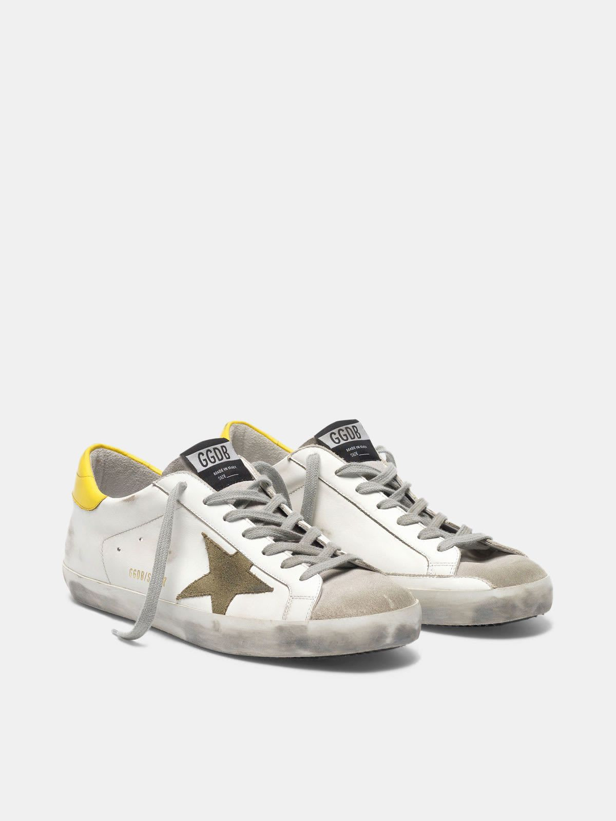 Super-Star sneakers in leather with suede star and yellow heel tab