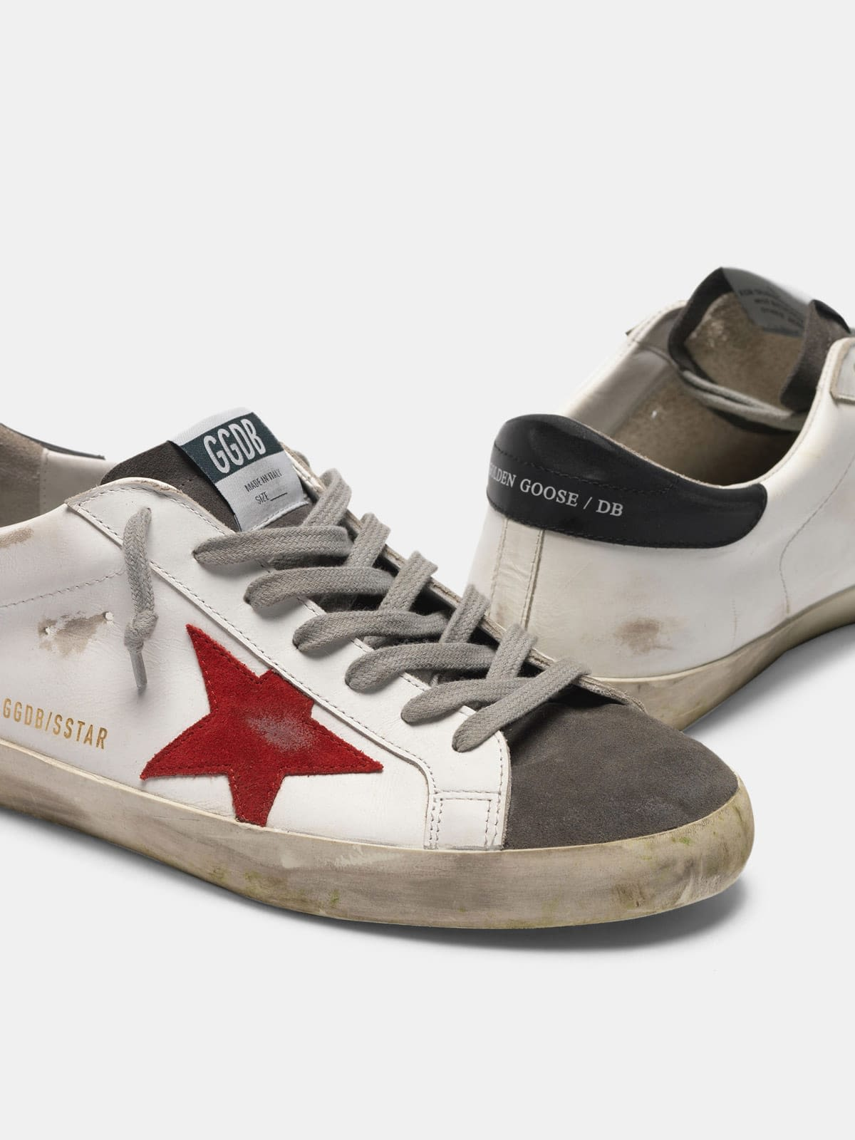 Super-Star sneakers in leather with insert and star in suede
