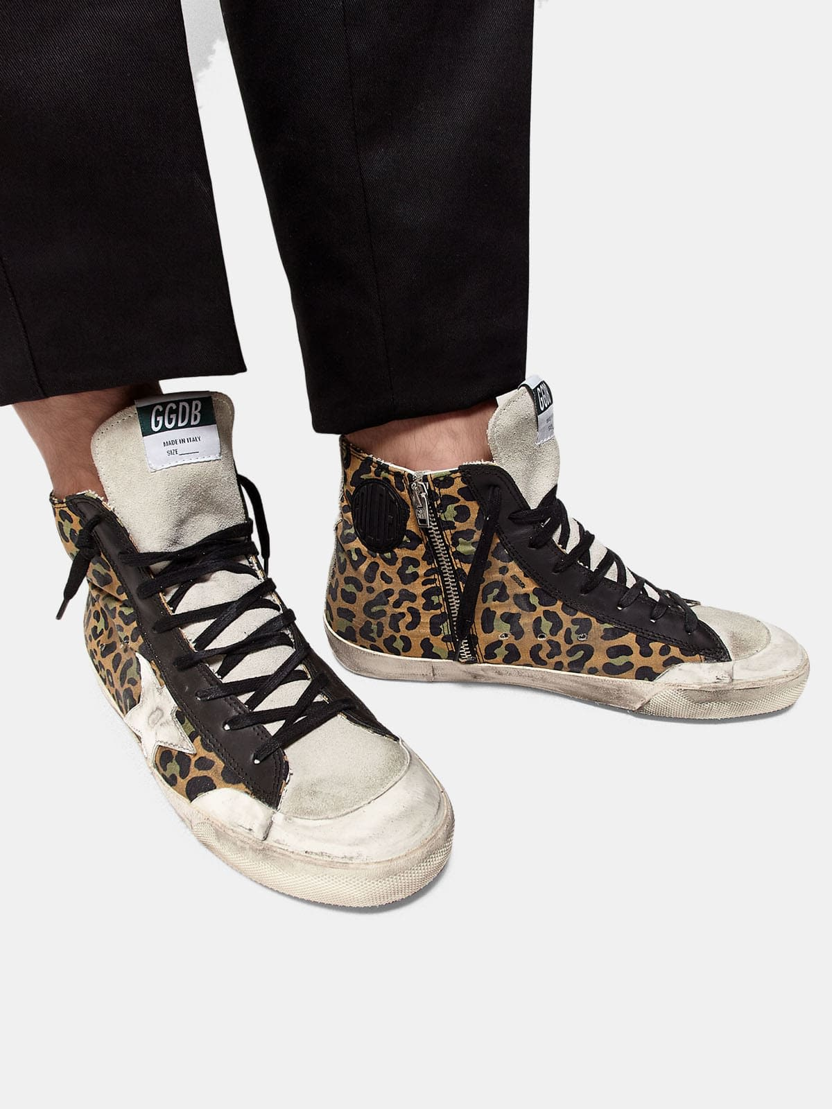 Francy sneakers in canvas with leopard pattern and leather