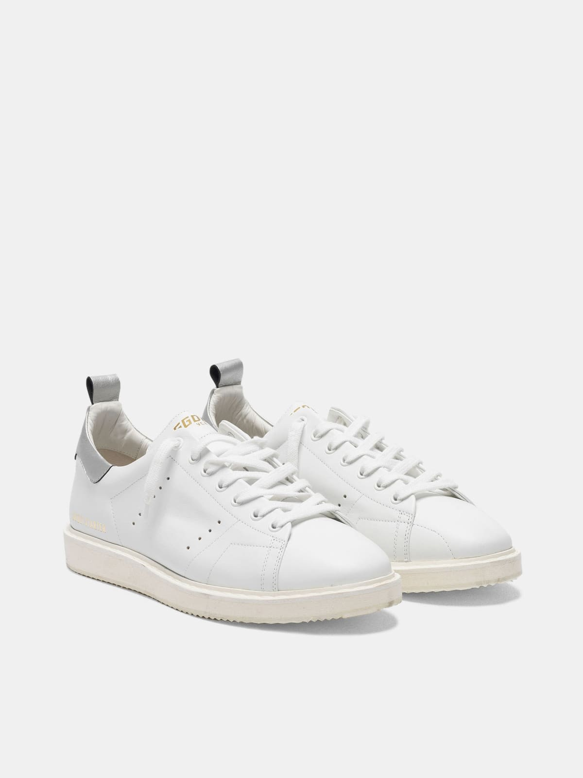 Starter sneakers in leather with metallic heel tab