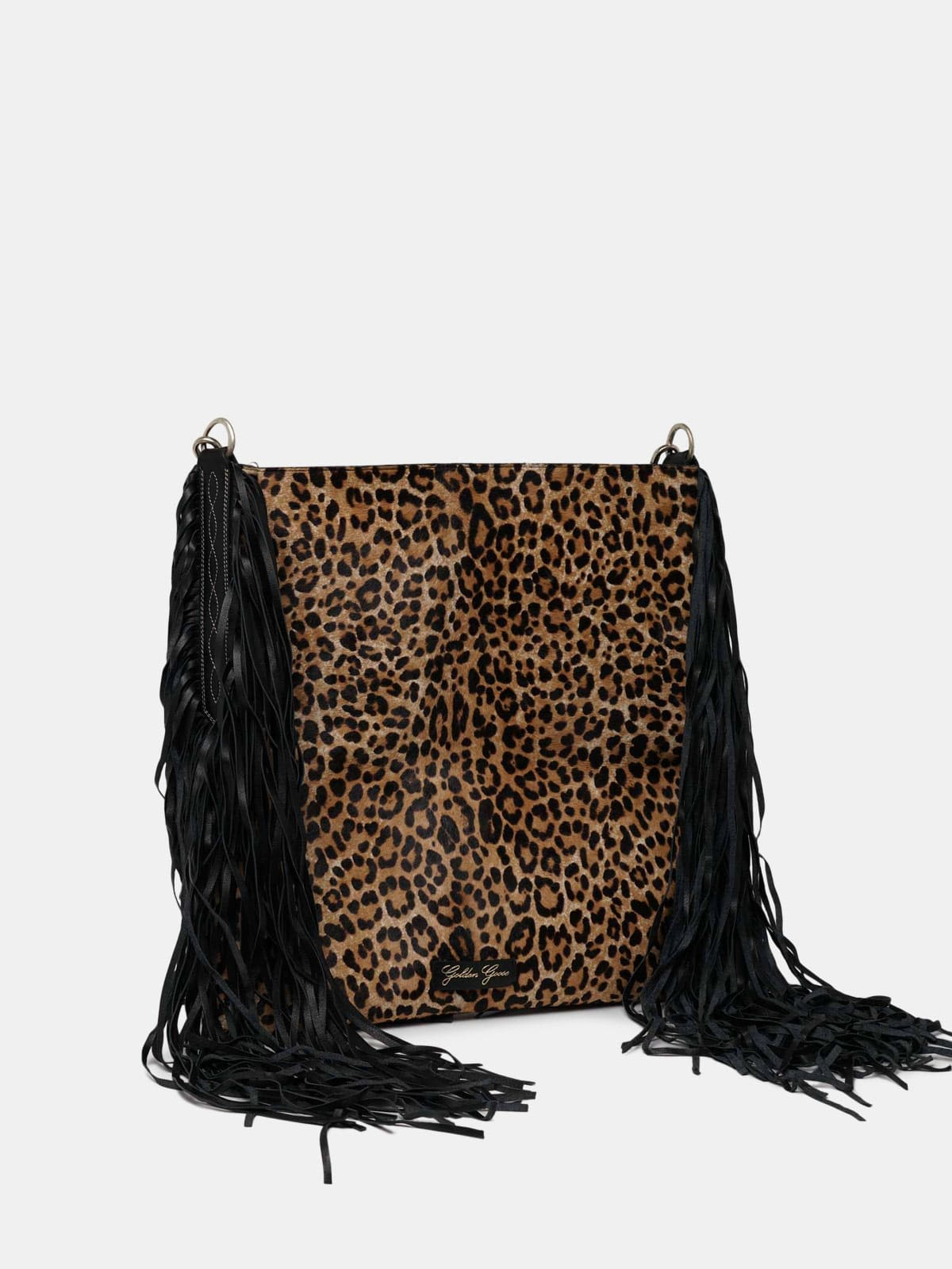XL Toast clutch bag in leather with suede fringes