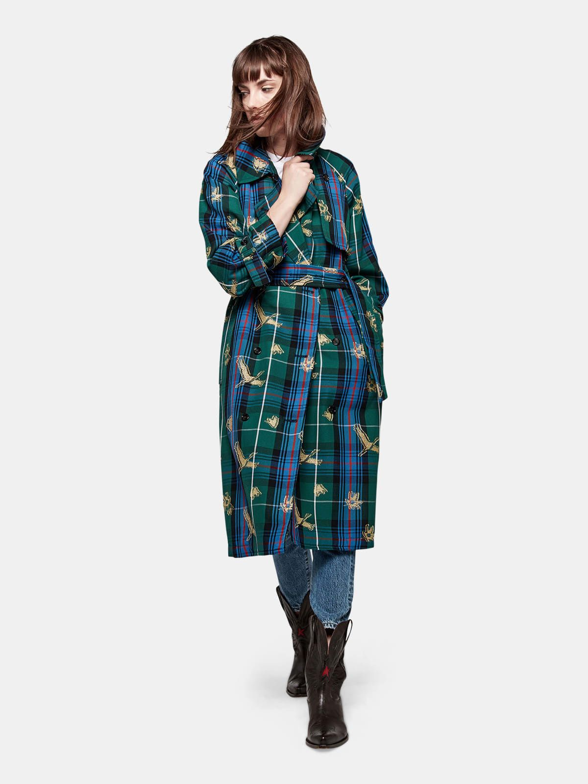 Masami trenchcoat in tartan with jacquard plumetis patterns