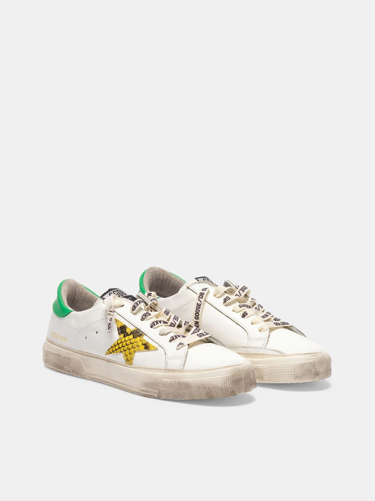 May sneakers with snake-print star and green heel tab
