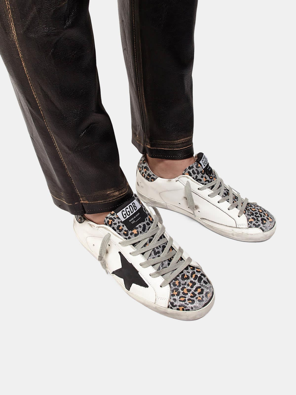 Super-Star sneakers with leopard-print insert and heel tab