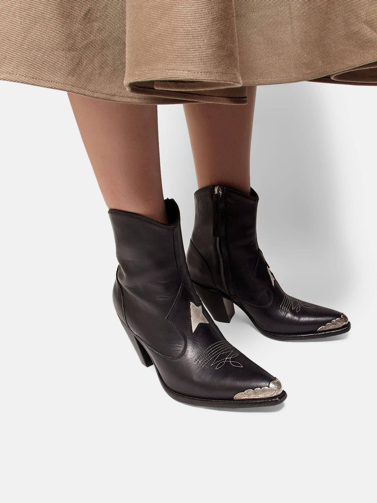 Nora ankle boots with a gold star and metal plate