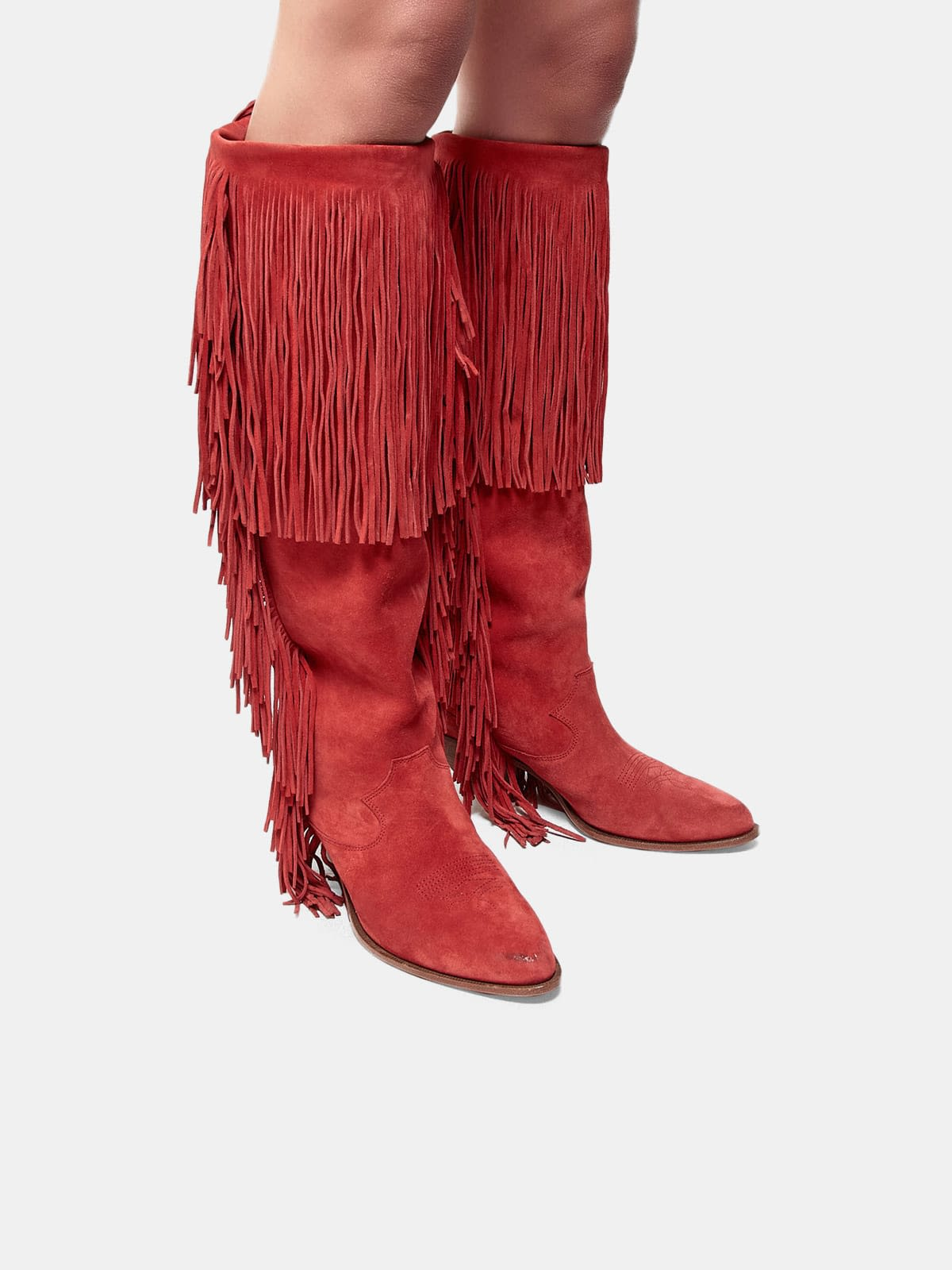 Levriero ankle boots in suede leather with fringes
