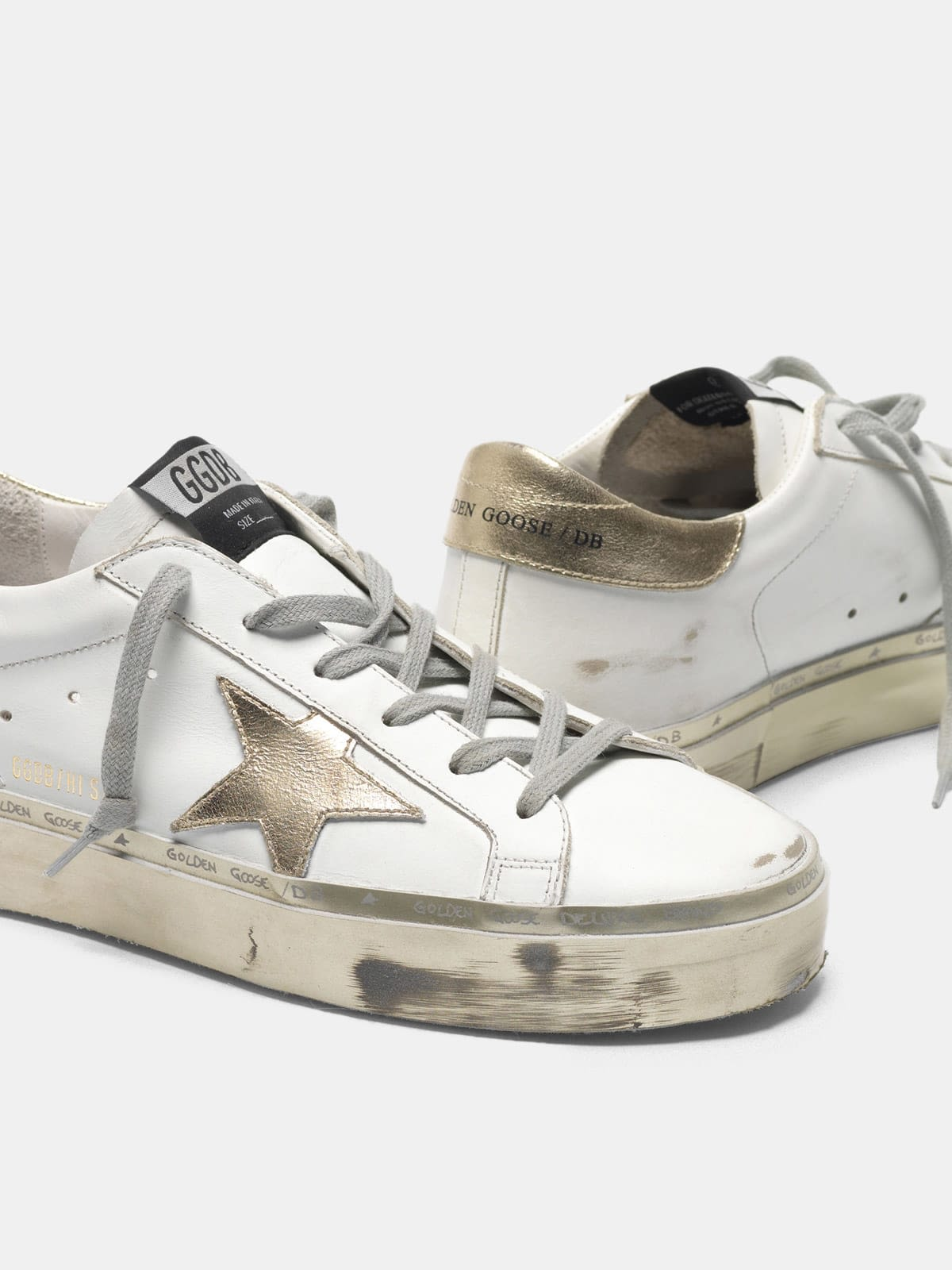 White and gold Hi-Star sneakers with sparkle foxing