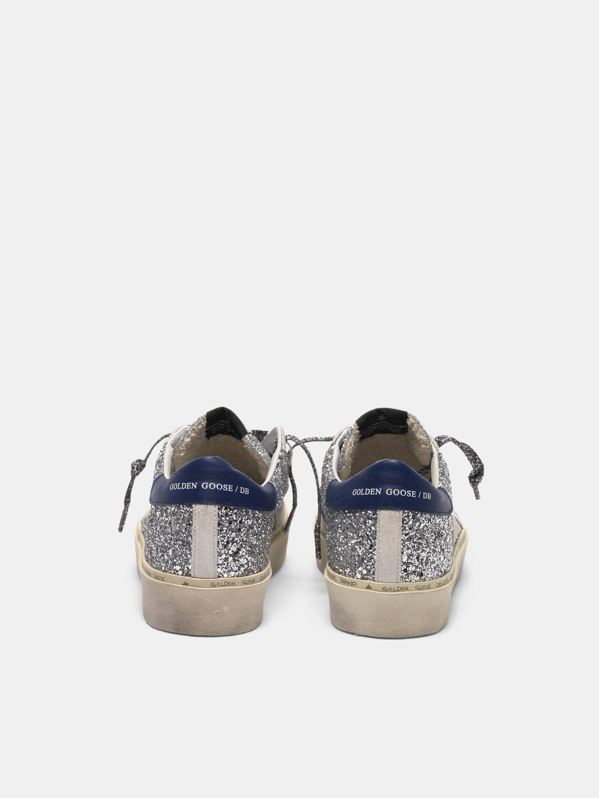 Hi Star sneakers with glitter, white star and leopard print laces