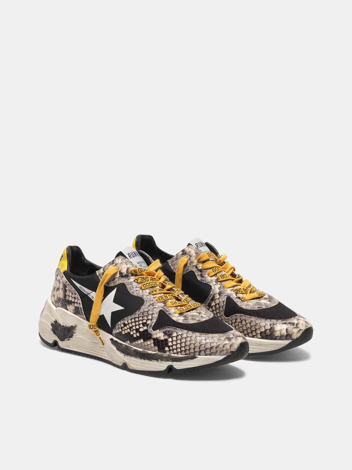 Running Sole sneakers in snake-print leather