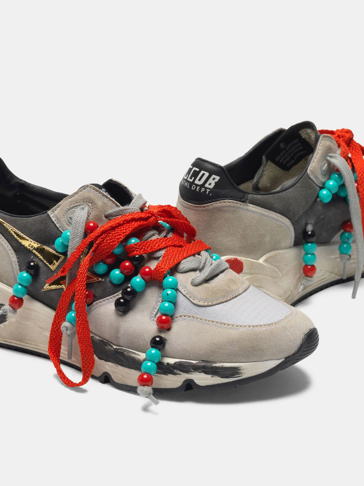 Suede Running Sole sneakers with double laces and beads