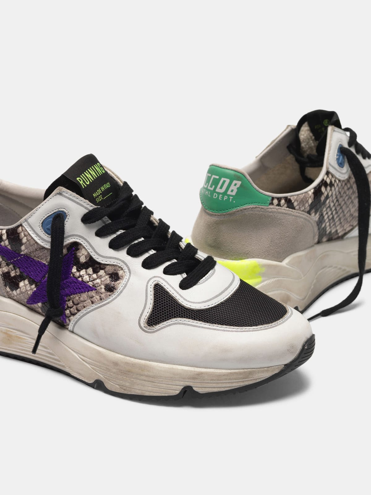 Running Sole sneakers in snakeskin print leather with purple embroidered star
