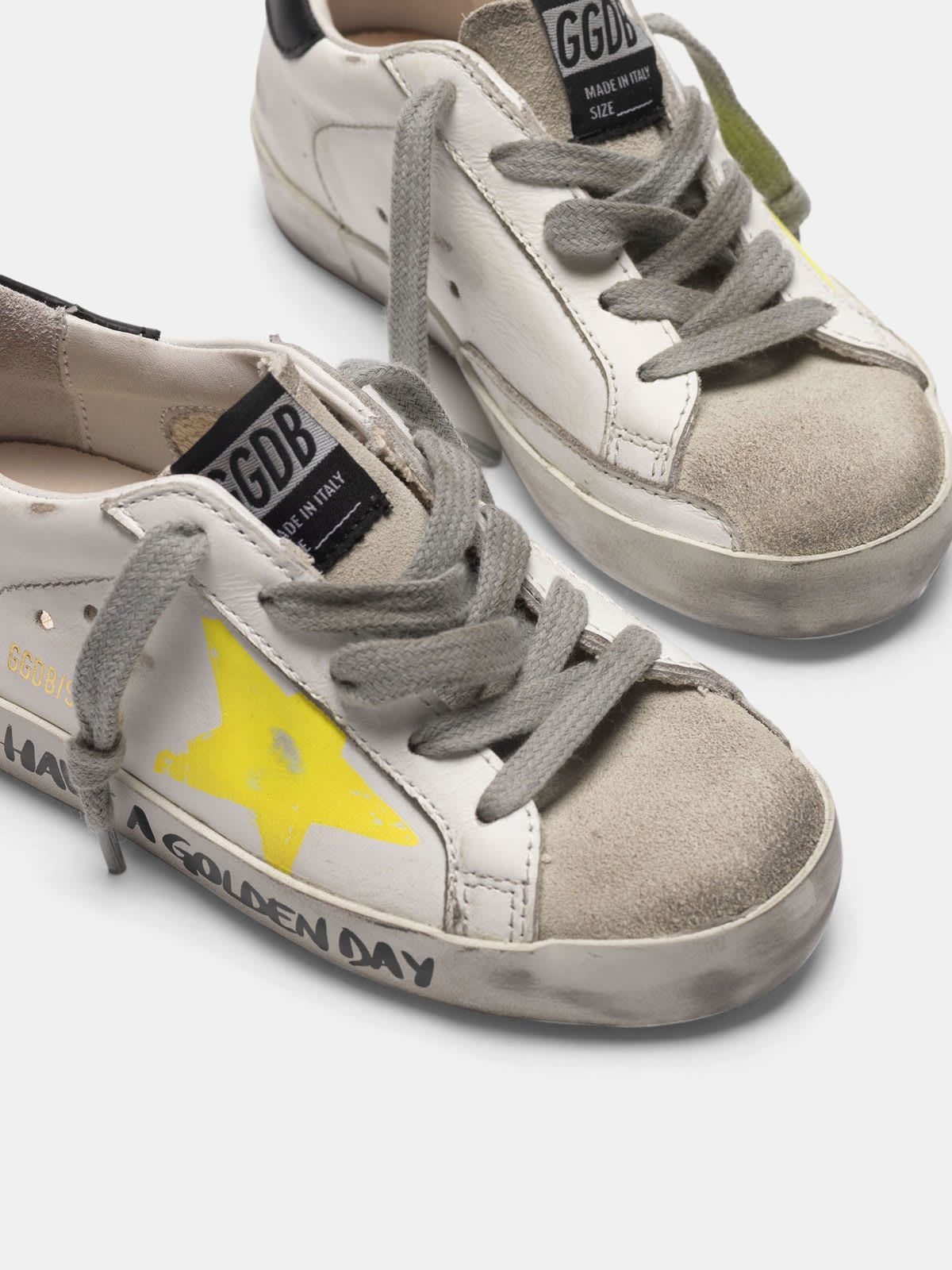 Super-Star sneakers with painted star and lettering on the foxing