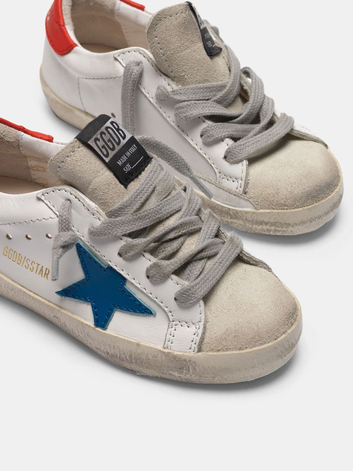 Super-Star sneakers with blue star and red heel tab