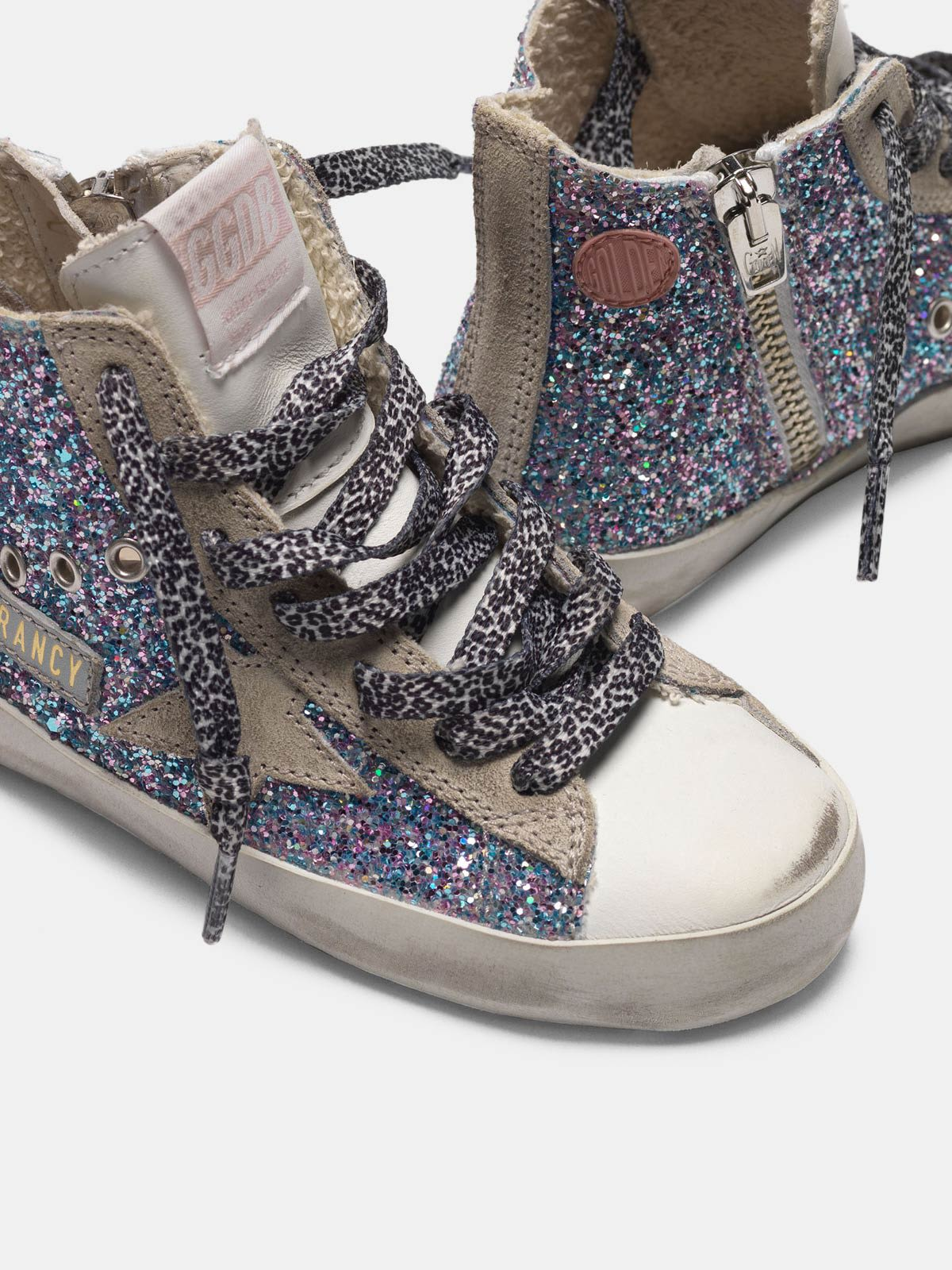 White Francy sneakers in leather with multicoloured glitter