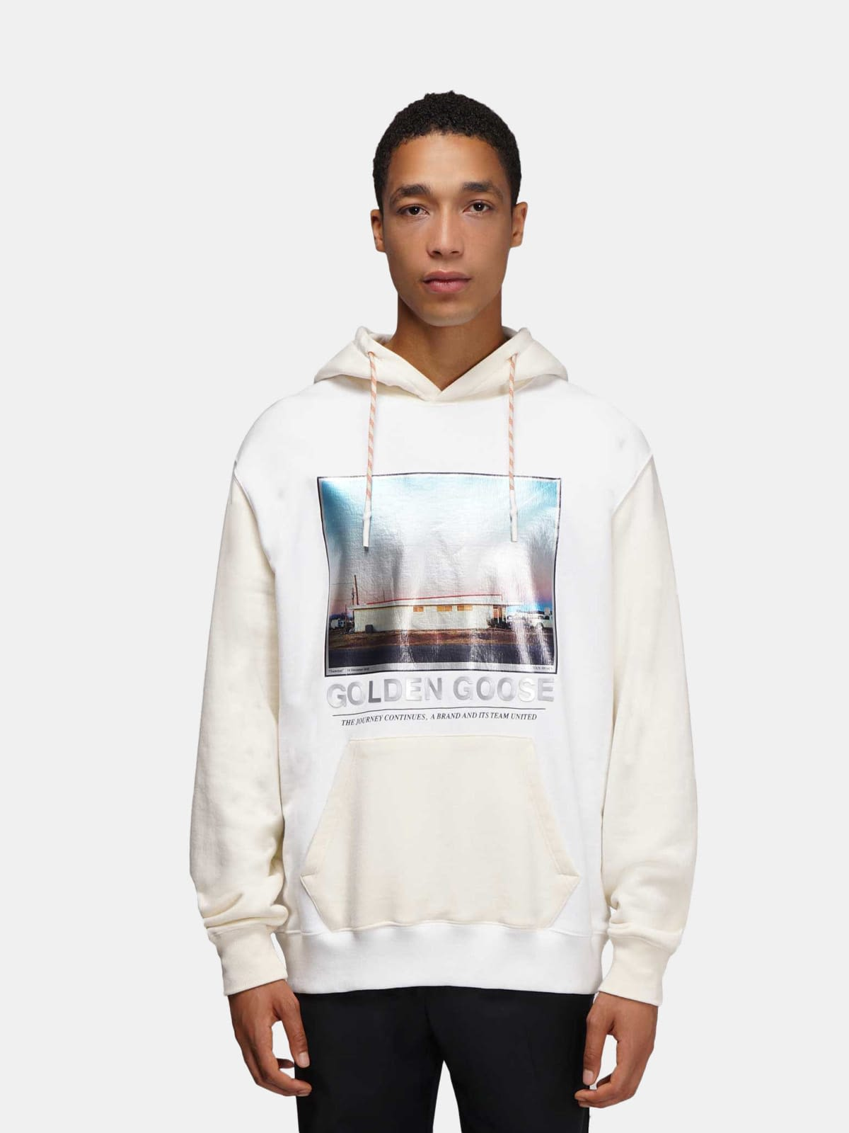 White Nicholas sweatshirt with hood with photographic print