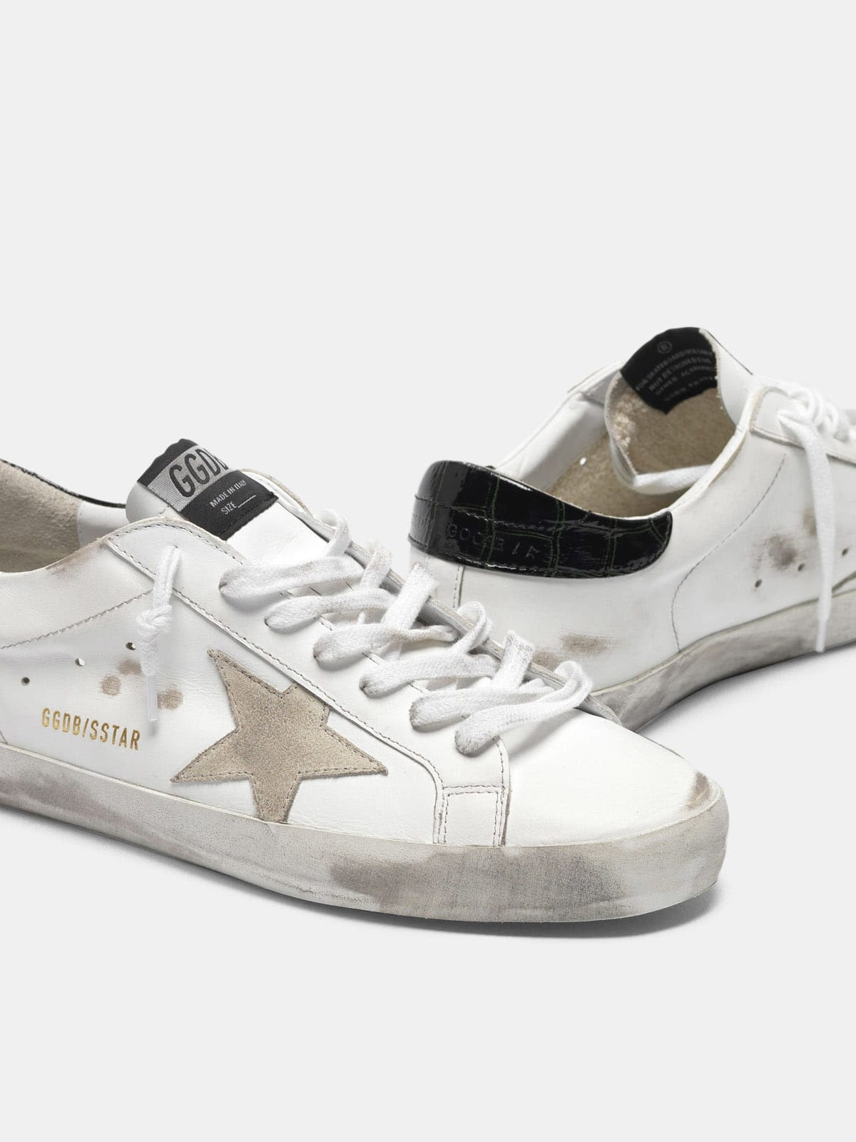 White Super-Star sneakers with black croc-print heel tab
