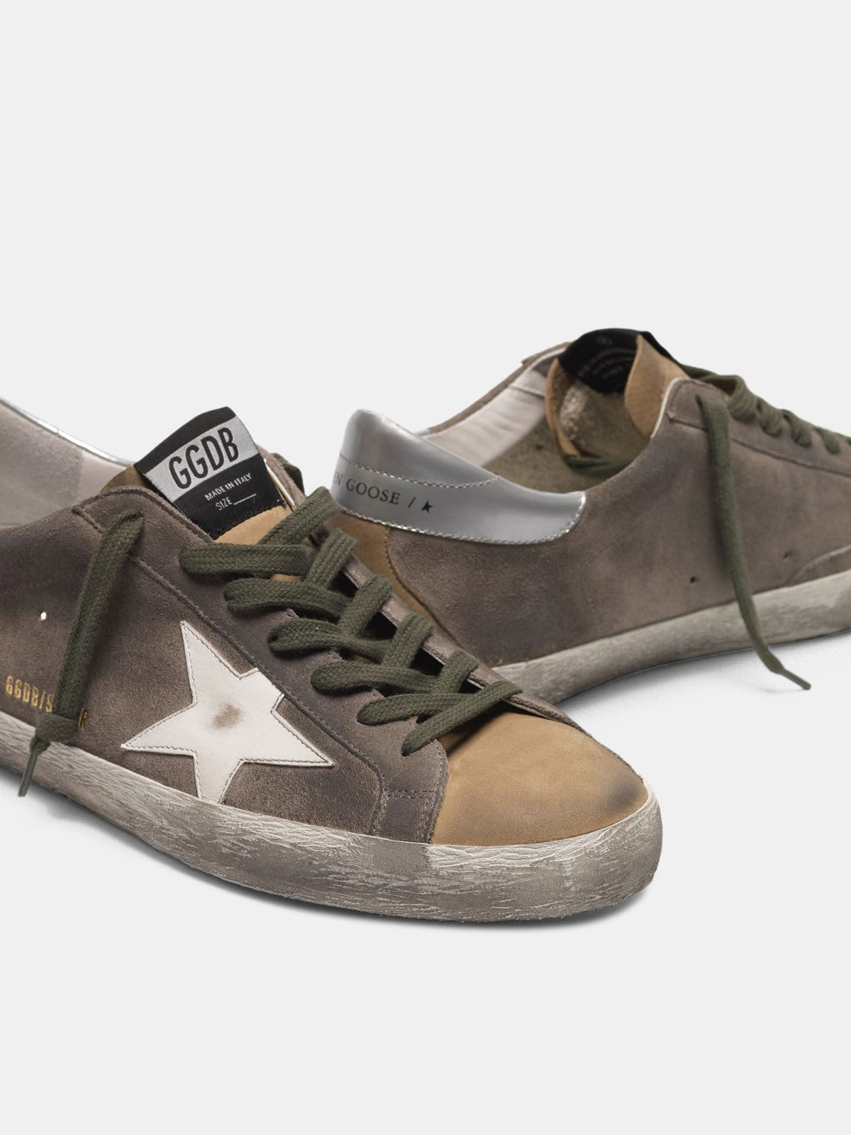 Two-tone Superstar sneakers in suede with white star