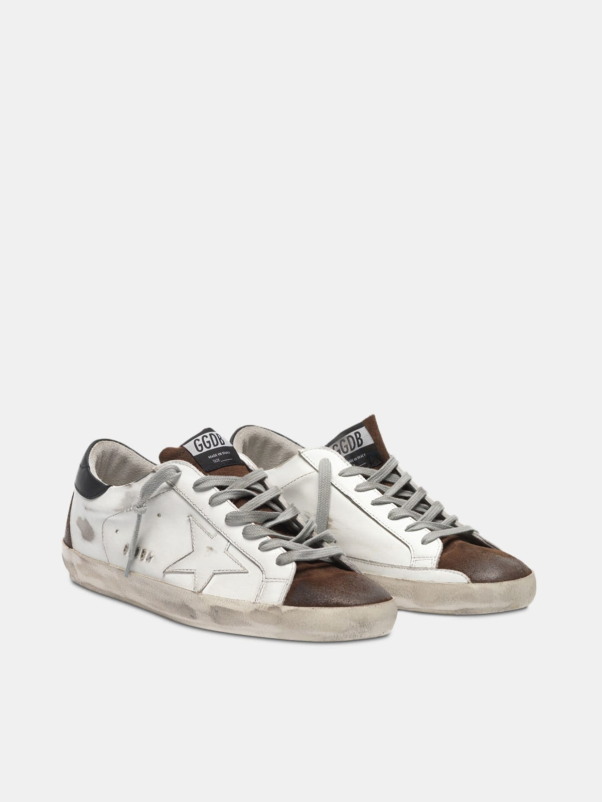 Two-tone white and brown Super-Star sneakers