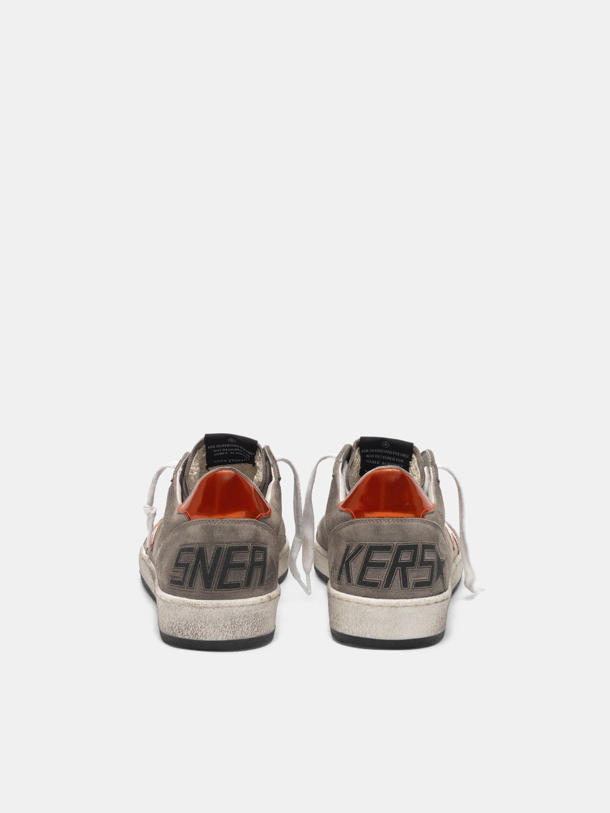Ball Star sneakers in grey suede with orange star
