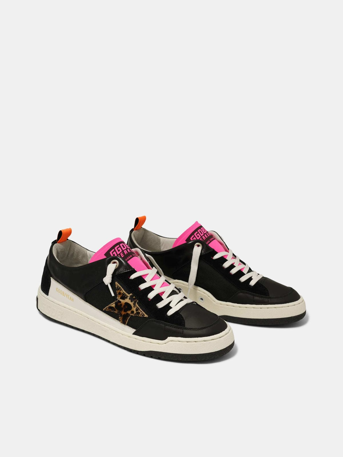 Black Yeah! sneakers with leopard-print star