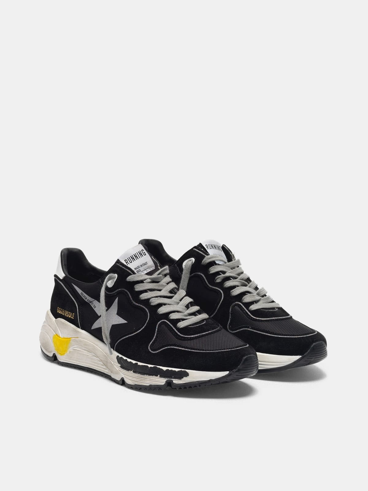 Black Running Sole sneakers with silver star