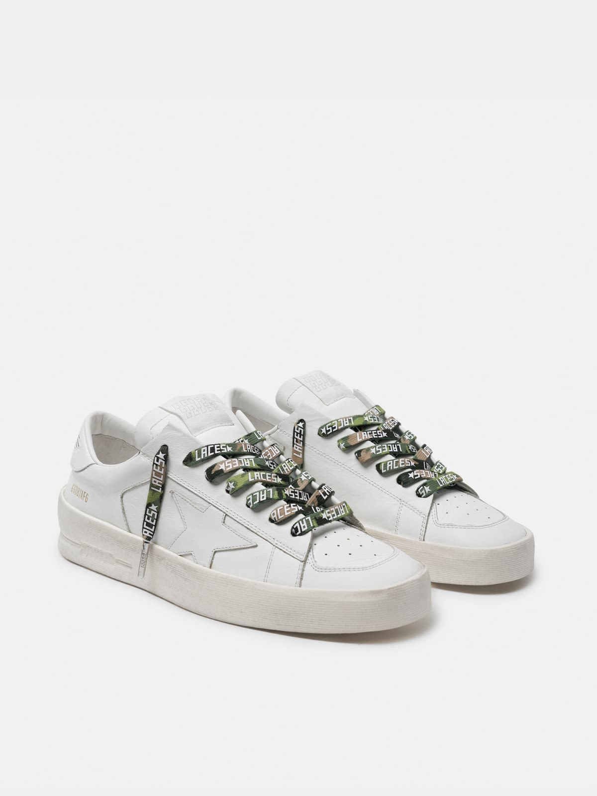 Women's green camouflage laces with white laces print