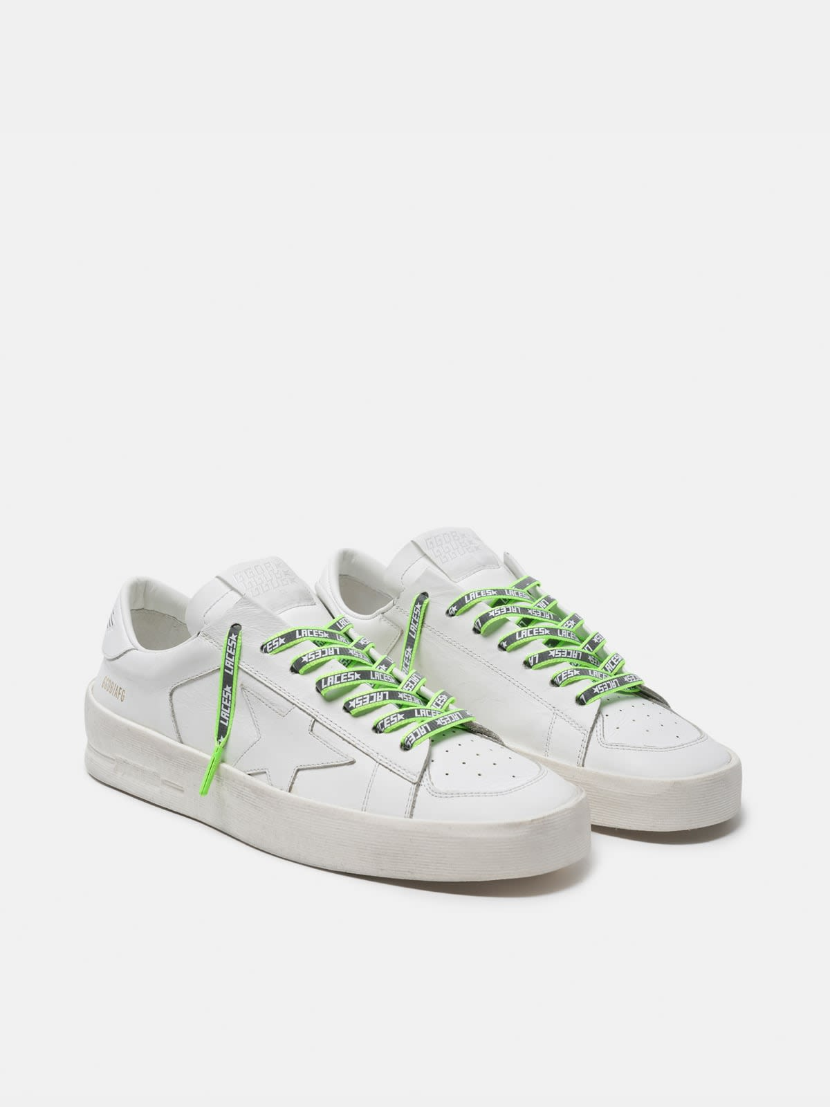 Women's neon green reflective laces with laces print