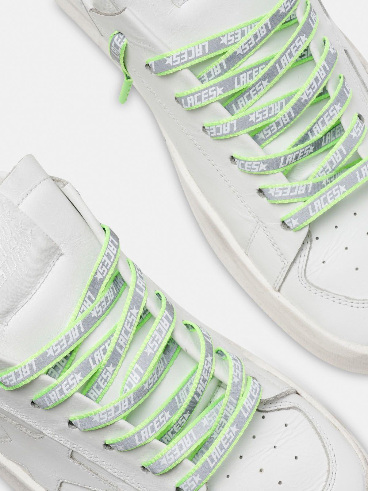 Men's neon green reflective laces with laces print