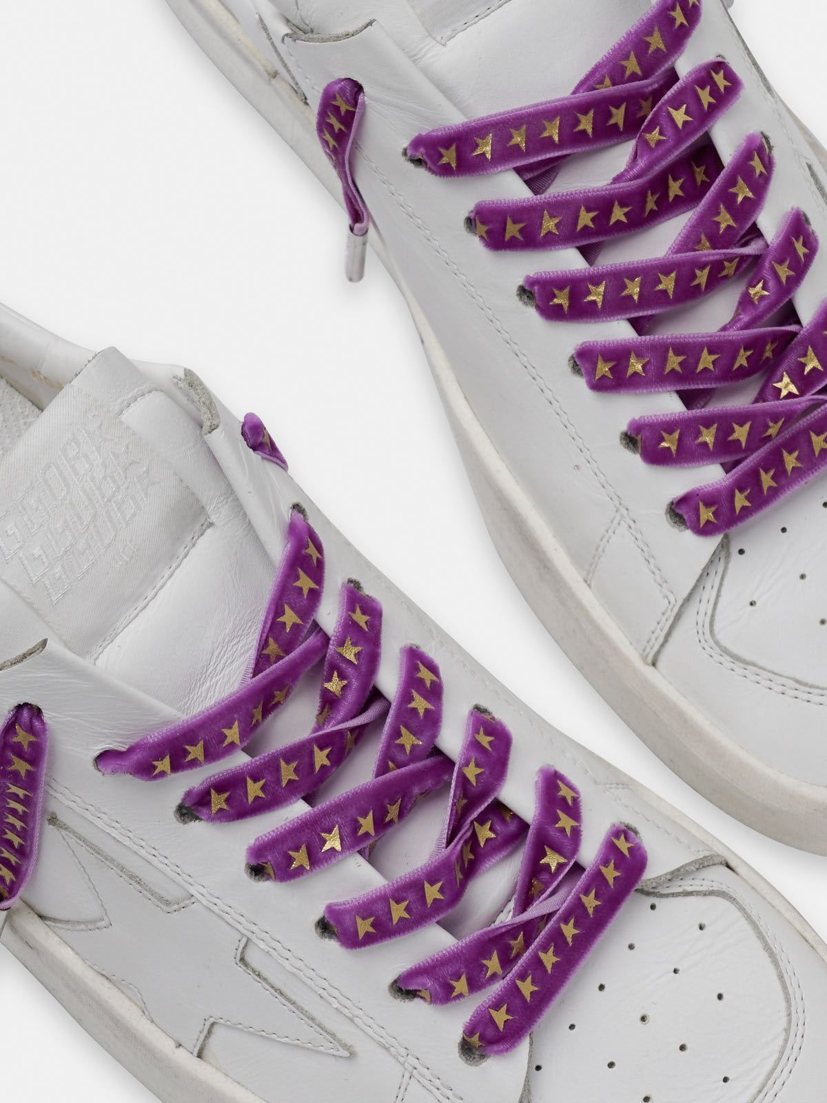 Women's purple velvet laces with gold stars